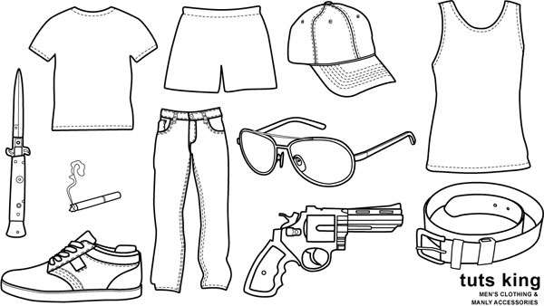 Men wear clothing line drawing vector goods Free vector in