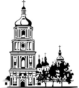 outline of architectural church temple in village vector