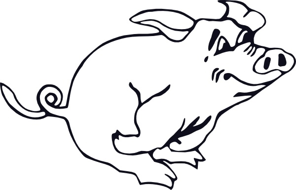 Outline Running Pig clip art Free vector in Open office