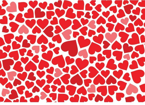 Red Heart Pattern Background Valentine Day Vector Free