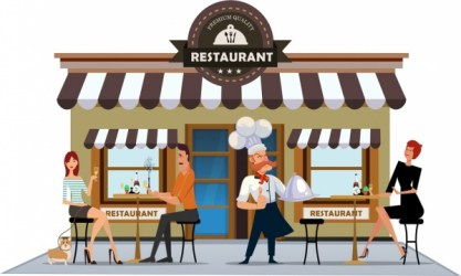restaurant cartoon drawing cook exterior icons colored diners vector business