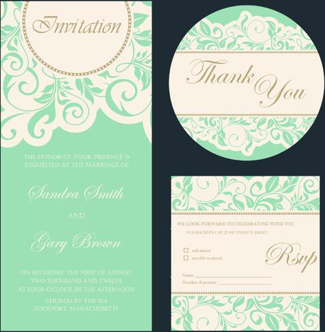 Retro Wedding Invitation Cards Design Free Vector 801 82kb