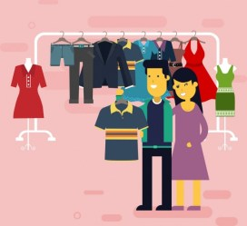 Shopping drawing couple clothes store icons colored cartoon Free vector in Adobe Illustrator ai ai format Encapsulated PostScript eps eps format format for free download 3 96MB