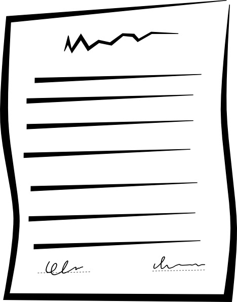 Signed Document Contract clip art Free vector in Open
