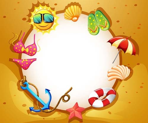 Summer Holiday Beach Frame Vector Free Vector In