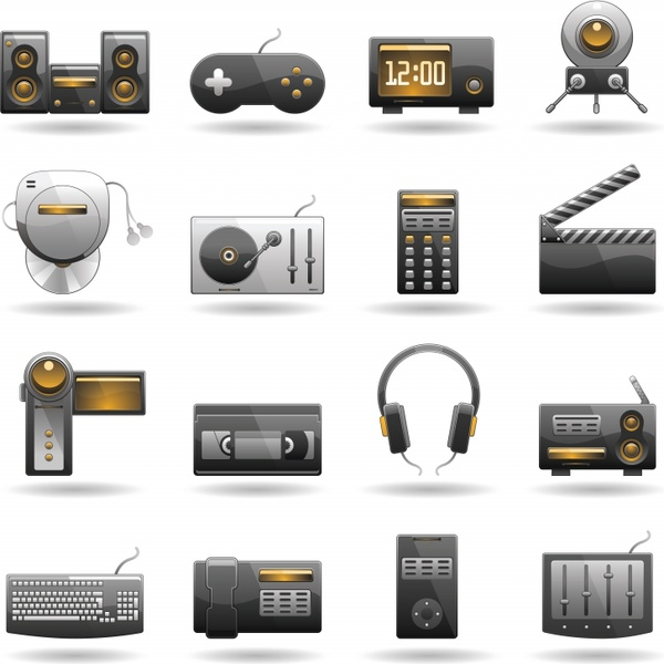 Technology products subwoofer mouse rod spreadsheet icon vector Free ...