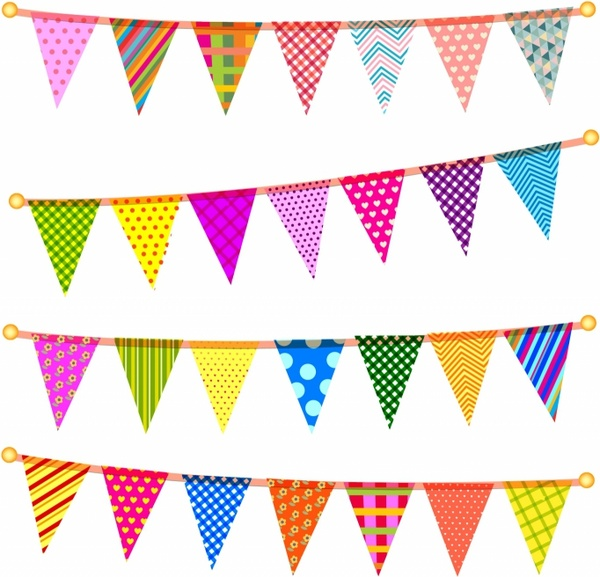 Triangle bunting flags Free vector in Adobe Illustrator ai