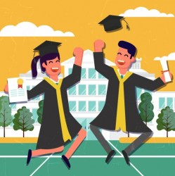 cartoon graduation university drawing students happy colored vector cartoons student studying svg employability college bachelor graphic ai vectors uniform things