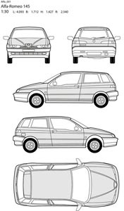 Vector alfa romeo car all side blueprint illustration Free