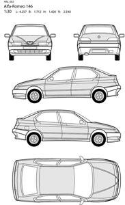 Vector alfa romeo car all side blueprint vector