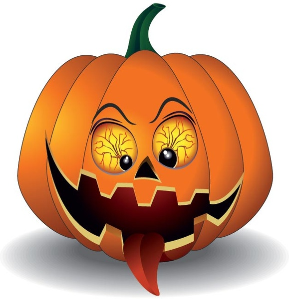 vector scary pumpkin with red eye
