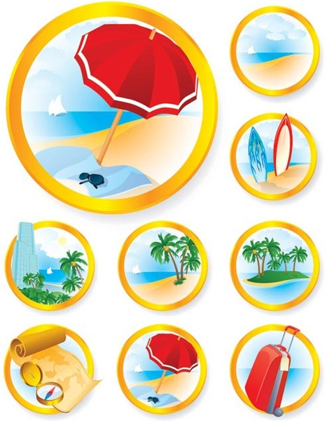 Vector travel and tourism 3d icon set Free vector in