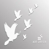 Wall decor design pigeon white silhouettes design Free ...
