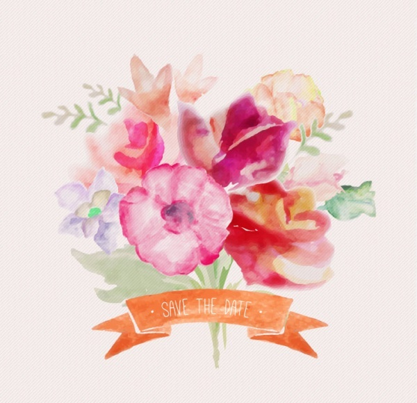 watercolor flowers with ribbon
