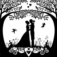 Wedding background template with silhouette style design ...