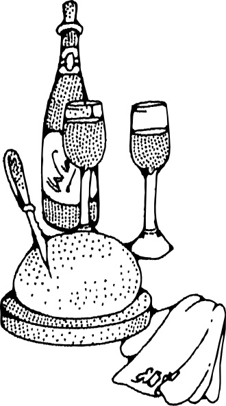 Wine And Bread clip art Free vector in Open office drawing