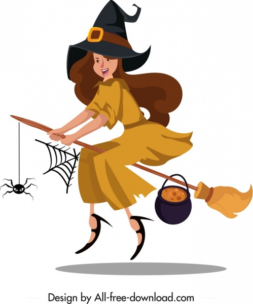 witch icon flying girl