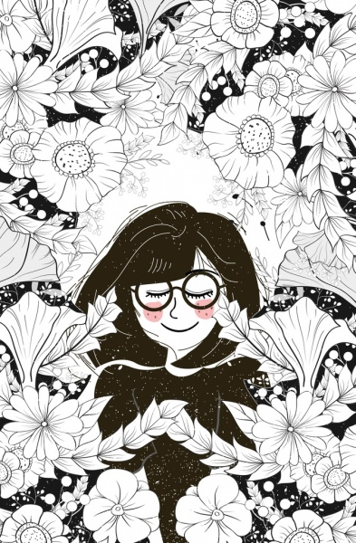 woman flowers drawing black