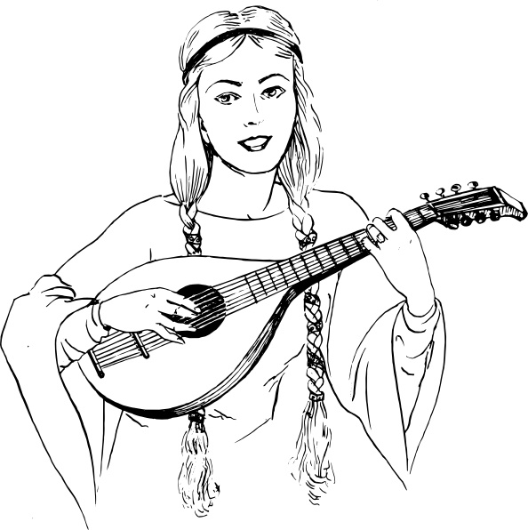 Woman Playing Lute clip art Free vector in Open office