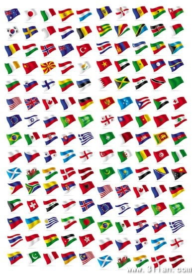nations flags collection colorful