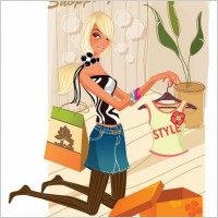 Fashion Shopping Girl Vector Illustration