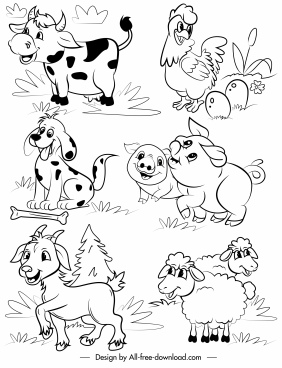 Farm Clipart Black And White : clipart, black, white, Animal, Vector, Download, (225,860, Vector), Commercial, Format:, Illustration, Graphic, Design