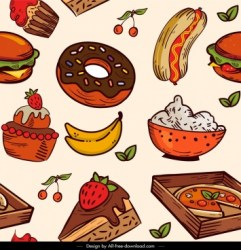 Cute food pattern free vector download 31 705 Free vector for commercial use format: ai eps cdr svg vector illustration graphic art design