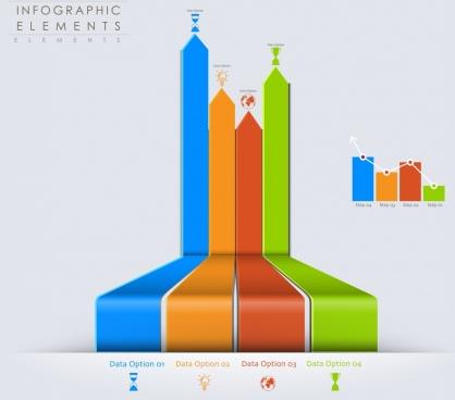 3d bar graph infographics
