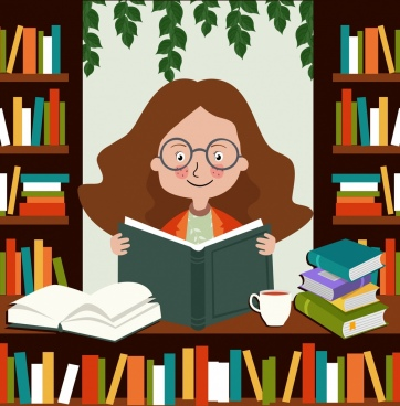 Girl reading book free vector download (5,946 Free vector) for commercial  use. format: ai, eps, cdr, svg vector illustration graphic art design