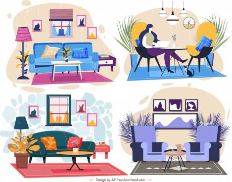 Living room decor template simple modern design Free vector in Adobe Illustrator ai ( .ai ) format. Encapsulated PostScript eps ( .eps ) format ...
