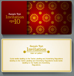 Ornate Invitation Cards Design Vector