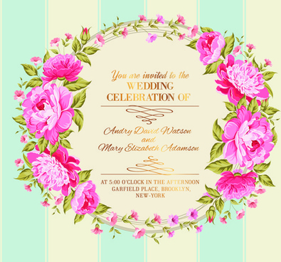flower border wedding invitation free