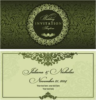 Retro Fl Wedding Invitation Cards Vector