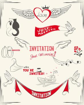 Wedding Invitation Cards Hand Drawn Vector