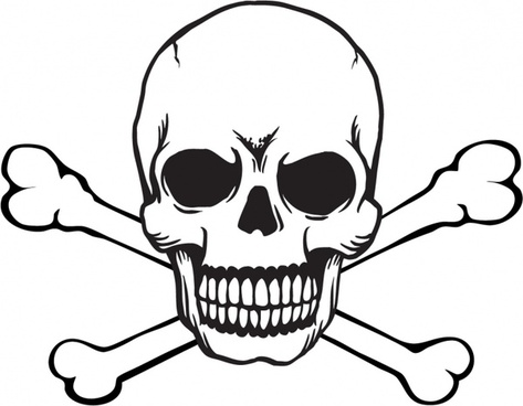 Pirate skull and crossbones template free vector download