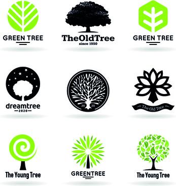 landscape logo tree free vector