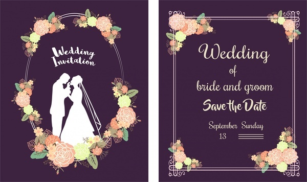 Wedding Card Template Clical Style Fl Violet Background