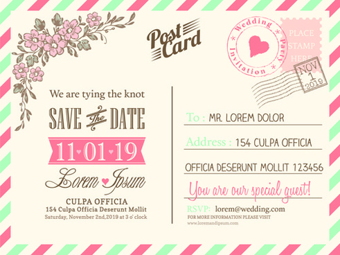 Vintage Wedding Invitation Postcard Template Save The Date