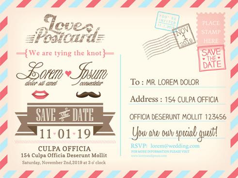 Postcard Wedding Invitation Free Vector