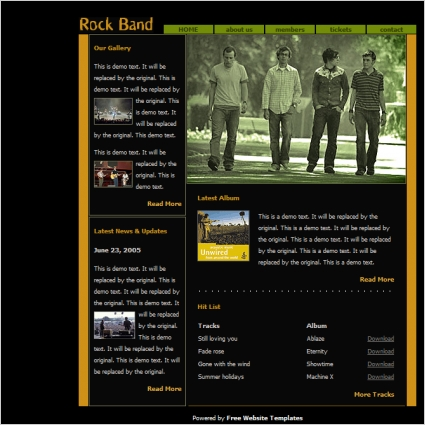 Rock Band Template Free Website Templates In Css Html Js Format For Free Download 7435KB