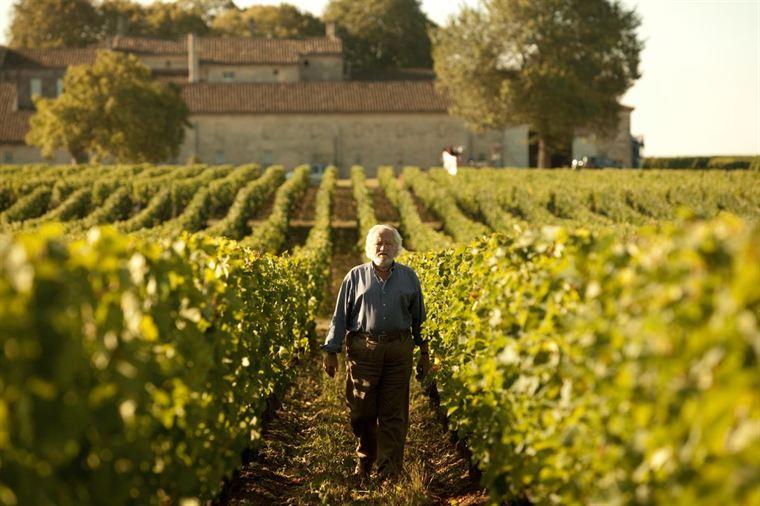 Paul De Marseul (Niels Arestrup) sur les terres de son prestigieux domaine viticole