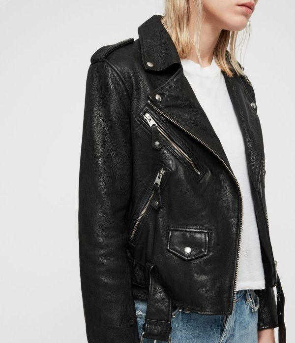 Womens Sarana Leather Biker Jacket (black) - Image 2