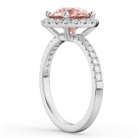 Halo Morganite & Diamond Engagement Ring 14K White Gold 2 ...