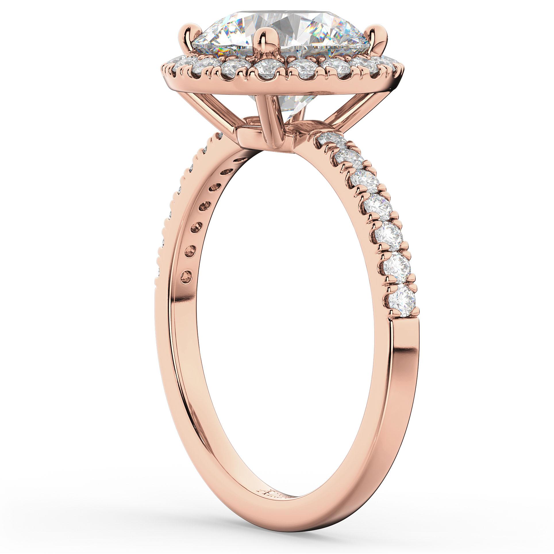 Halo Moissanite & Diamond Engagement Ring 14K Rose Gold 2