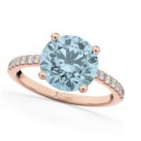 Aquamarine & Diamond Engagement Ring 14K Rose Gold 2.41ct ...