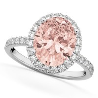 Oval Cut Halo Morganite & Diamond Engagement Ring 14K ...