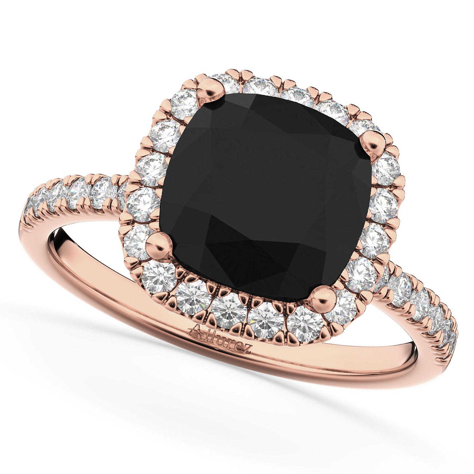 Cushion Cut Black Diamond Engagement Ring 14k Rose Gold 2