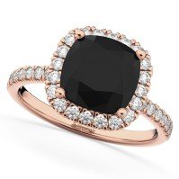 Cushion Cut Black Diamond Engagement Ring 14k Rose Gold 2