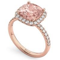 Cushion Cut Halo Morganite & Diamond Engagement Ring 14k ...