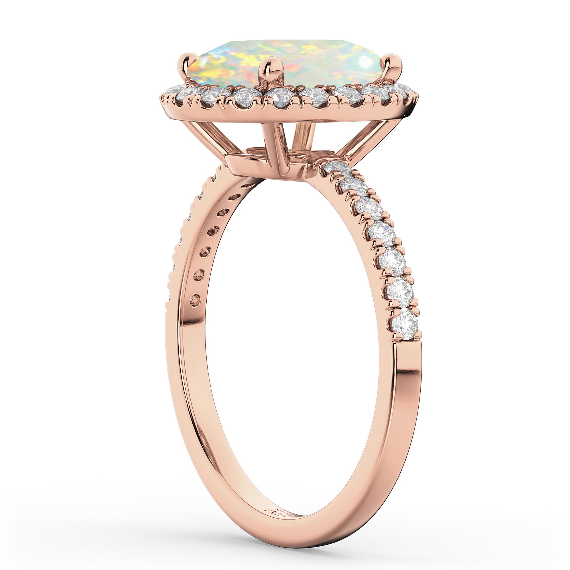 Cushion Cut Halo Opal & Diamond Engagement Ring 14k Rose